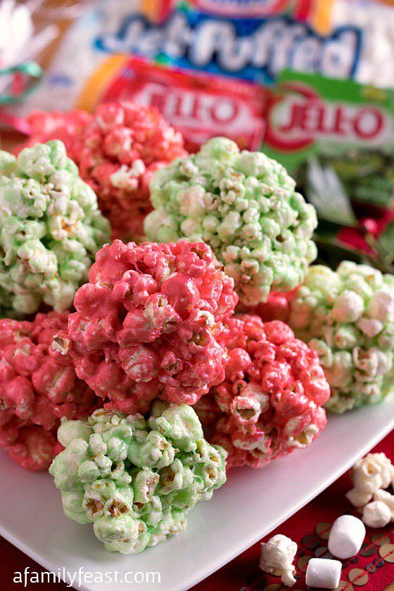 Festive JELL-O Popcorn Balls - A fun, easy, delicious and fool-proof dessert featuring great KRAFT products!  #sponsored