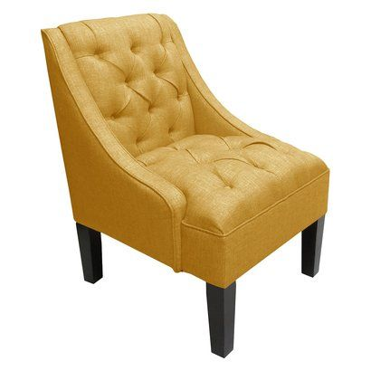 French Yellow Swoop Arm Tufted Linen Chair.