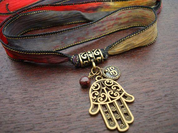 Hamsa, Om, & Garnet Silk Wrap Bracelet