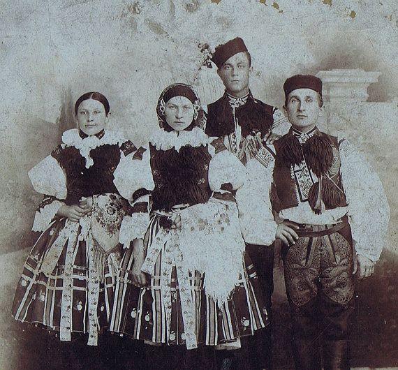 Antique Cabinet Card of Czech Folk Costumes by PainterPoetMuse, $30.00