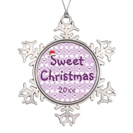 Snowflake heart pattern in purple-lavender color, Sweet Christmas Pewter Snowflake Ornament - Custom date. #fomadesign