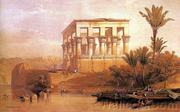 David Roberts Paintings : The Ancient Egypt  - David Roberts Artwork : Hippetral Temple Philae, 1838  16