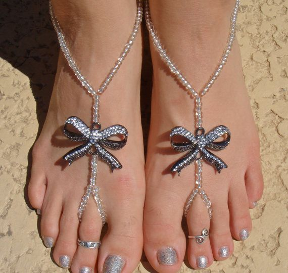 Silver Bow Barefoot Sandals, Slave Anklet, foot jewelry, ankle bracelet with toe ring via Etsy