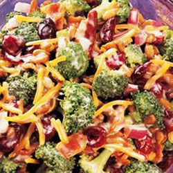 Broccoli and Cranberry (craisins) Salad ( with bacon bits, sunflower seed kernels, etc) and recipe for a sweet mayo based salad dressing.   ***Looks good for the holidays!***