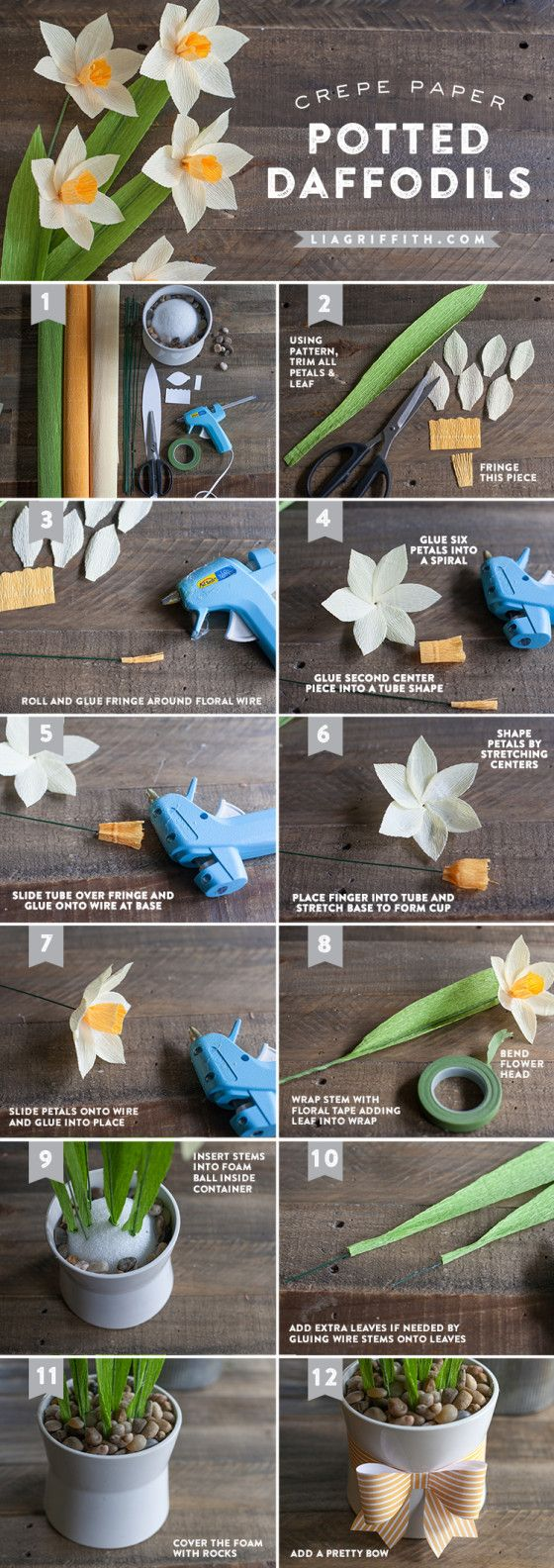 DIY Potted Paper Daffodils Tutorial