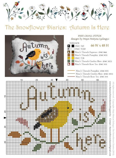 The Snowflower Diaries: Autumn Is Here (2013) - free cross stitch pattern