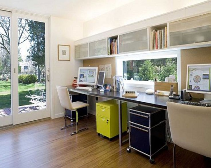 modern home office design with yellow black storages and long desk plus dark wood floor: modern home office ideas with specific sense