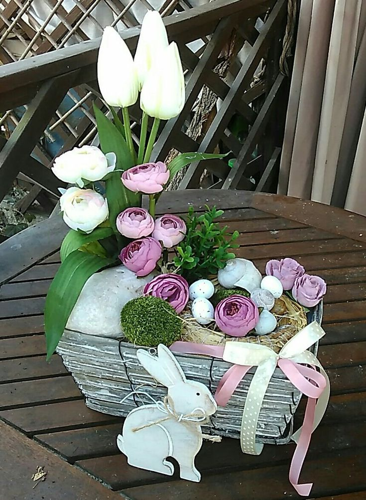 Easter And Spring Decorations. A box of pink and white flowers