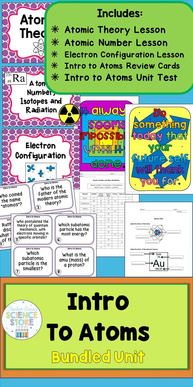 A complete bundled unit to teach an introduction to the atom! Covers atomic theory and the main scientists, atomic number, mass and calculating proton, neutrons and electrons and drawing Bohr models and Lewis Dot diagrams. Perfect for middle school physical science!