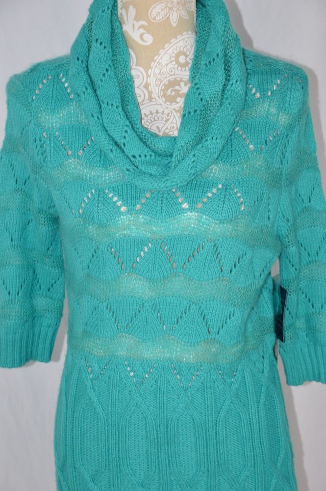 Anne Klein Womens XL Teal Blue Cowl Neck Semi Sheer 3/4 Sleeve Sweater NEW #AnneKlein #CowlNeck