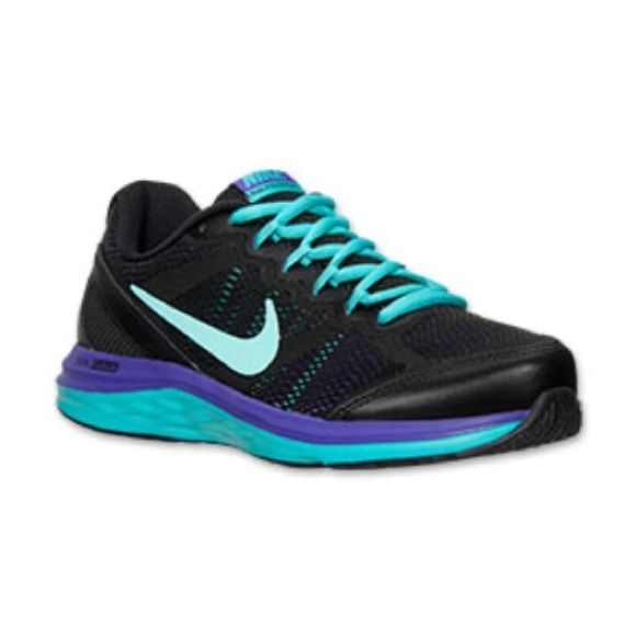 nike dual fusion run 3 Brand new!!! Only wore once! In perfect condition!! Black purple and Aqua colors. Size 9.5 in women's Nike Shoes Athletic Shoes