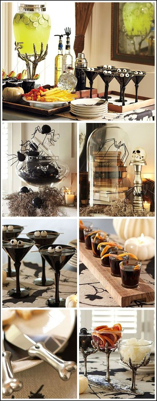 This is totally the theme I  going for. Black and creepy, not really using orange. Mostly jut things found in nature.    Halloween Party Ideas by Daisy Faye