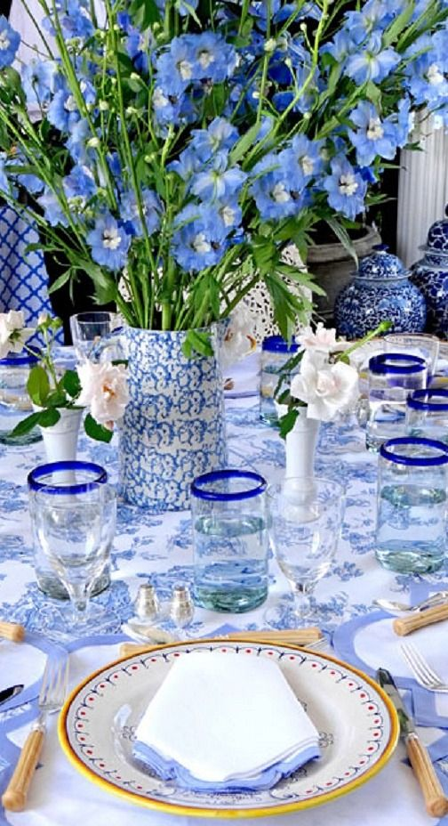 Pretty Blue And White Table Setting