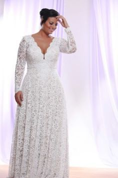 Style #PS1412 Detachable Long Sleeve Wedding Dress for Plus Size Bride