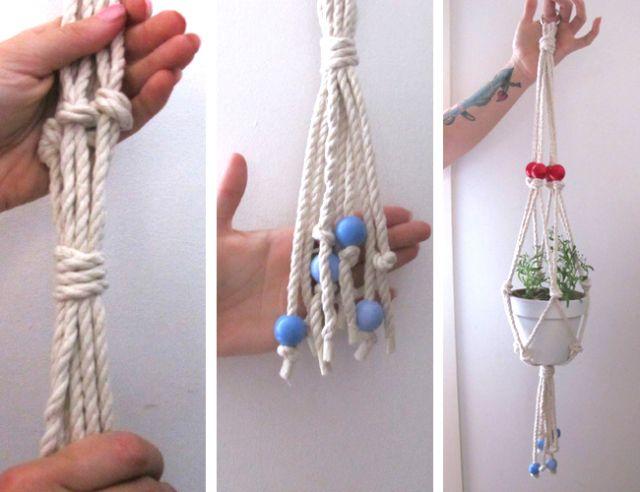 DIY macrame plant hanger with Macramake