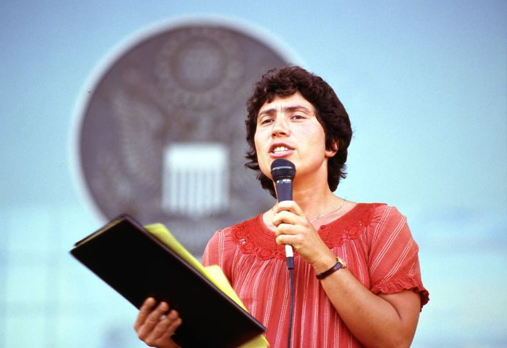 Kathy Wilde, attorney for Michael Hardwick, speaking at a gay rights demonstration in the wake of the U.S. Supreme Court decision for Bowers v. Hardwick (Georgia sodomy law case), Richard B. Russell Federal Building, Atlanta, Georgia, July 3, 1986.