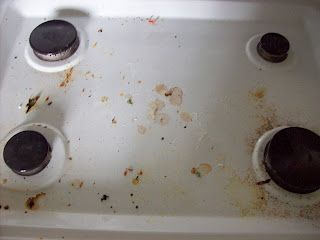 how to clean tough stains on stove top