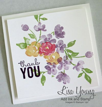 Stampin' Up! Painted Petals stamp set. Square card in clean and simple style. White base with purple, yellow, and pink flowers. Handmade by Lisa Young, Add Ink and Stamp