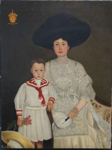 grand tableau peinture ancienne huile sur toile de g v pelt femme et enfant 1910 pinterest. Black Bedroom Furniture Sets. Home Design Ideas