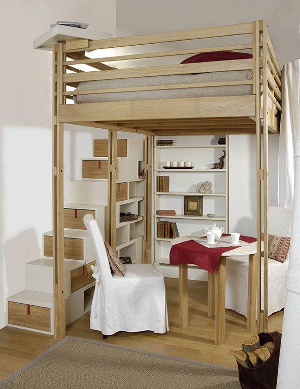 10 id es de meubles pour conomiser de la place id es d co pour la chambre pinterest - Bed mezzanie kind ...