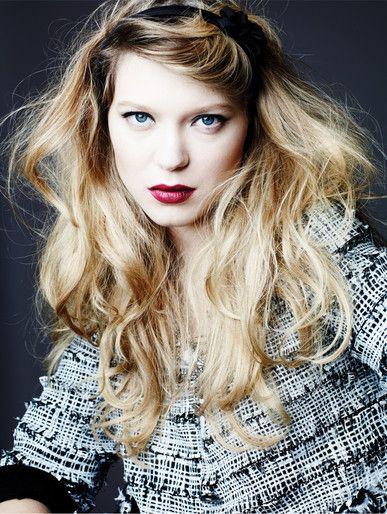 Deep burgundy lips on pale skin. Something that my sister would look good in