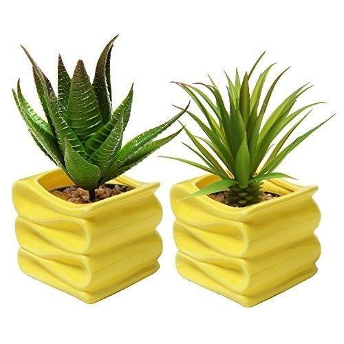 Small-Ceramic-Plant-Pot-Flower-Planter-Yellow-Set-of-2-Modern-Decorative-New
