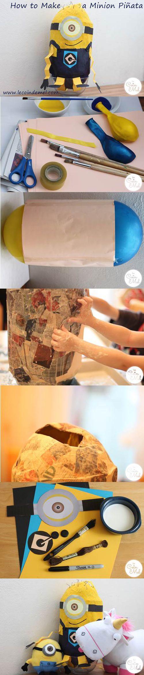 How to Make a Minion Piñata (Despicable Me) - easy tutorial for a piñata - www.lecoindemel.com