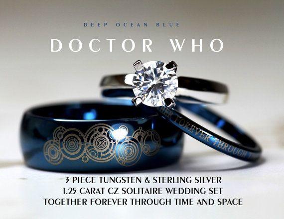 AZUL Doctor Who su tungsteno de 8mm y 4mm 925 de ella establece plata 1,25 quilates solitario CZ anillo de boda,