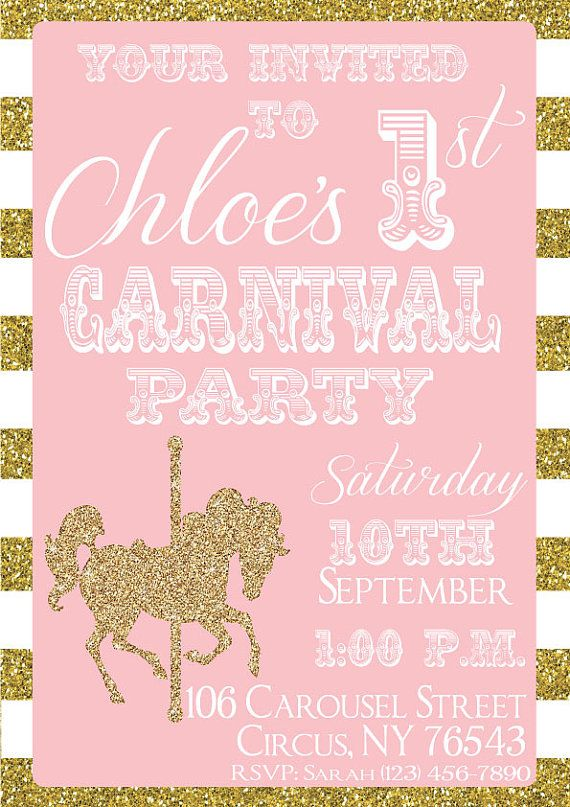 Carousel Birthday Invitation Carnival by PartyPresentation on Etsy