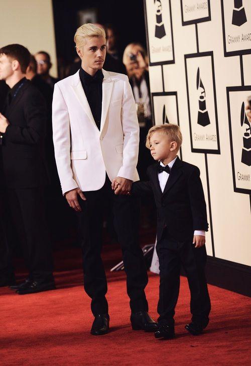 Justin & Jaxon Bieber - Grammy 2016
