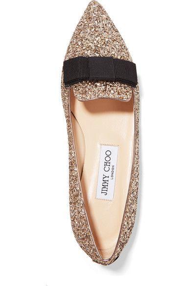 Jimmy Choo - Gala Glittered Leather Point-toe Flats - Gold - IT36.5