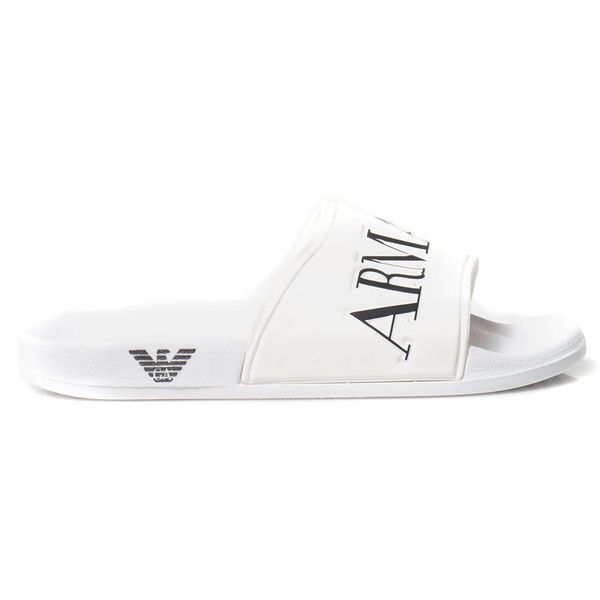 Armani Jeans Flat Sandals ($50) ❤ liked on Polyvore featuring shoes, sandals, bianco, armani jeans, armani jeans shoes, white flat sandals, flat footwear and white shoes