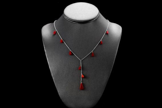 Rode Lariat ketting / rood koraal Lariat / Coral Necklace Drop