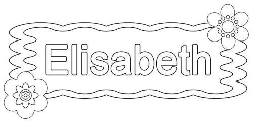Beliebte Mädchennamen: Ausmalbild: Elisabeth zum Ausmalen