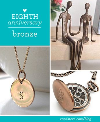 Eighth wedding anniversary gift ideas - bronze | Cardstore Blog