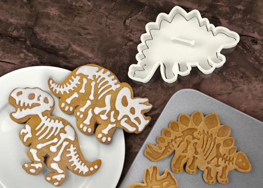 """Dinosaur skeleton cookie cutters. These are from Kiwi Cakes website, but I've seen them instore at Stevens. I wonder what other designs you can get? They are called """"dig-ins"""" made by a company called Fred somethingarather. They also have tattoo cookie cutters like this etc."""