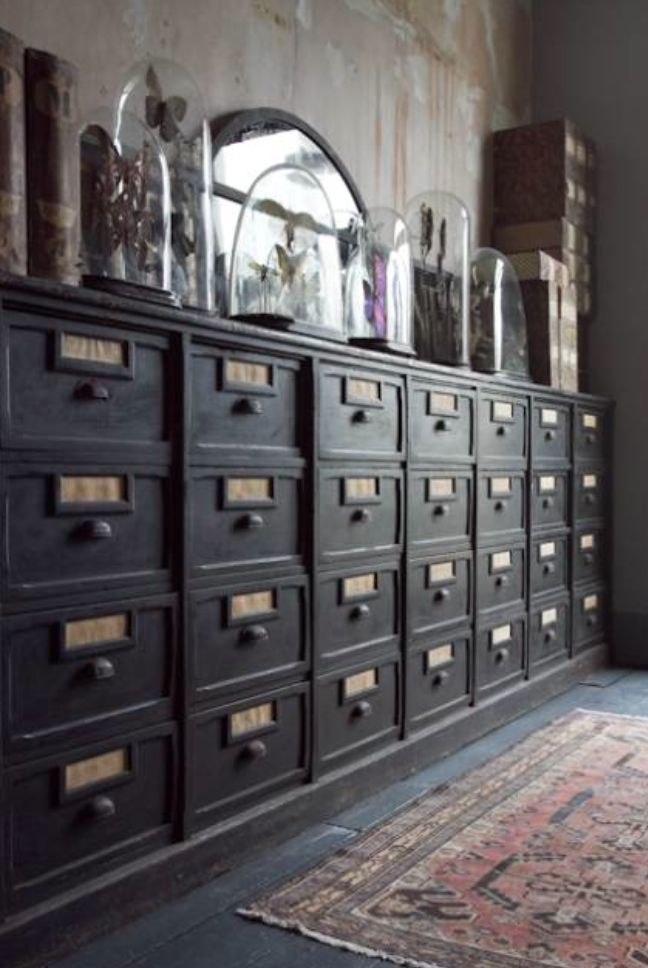 Curio Cabinet With Drawers   Foter Beautiful Black Filing Drawers, With  Brass Handles And Bell Jars.