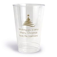 Clear Plastic Cups Printed with Gold Christmas Tree Design and Your Personalization
