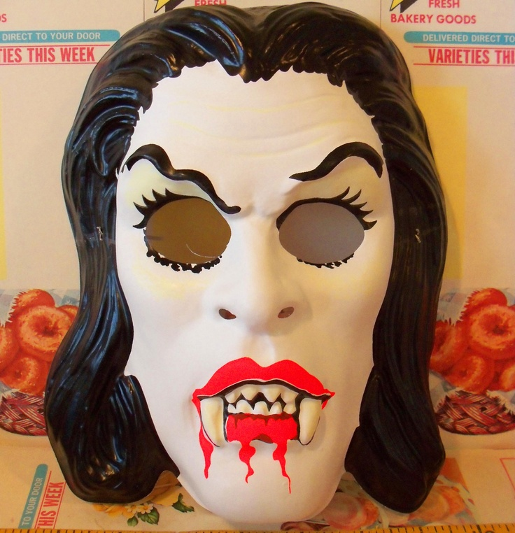 Vintage / Collegeville / Glow in the Dark Vampire Halloween Mask / Child Size. $5.95, via Etsy.