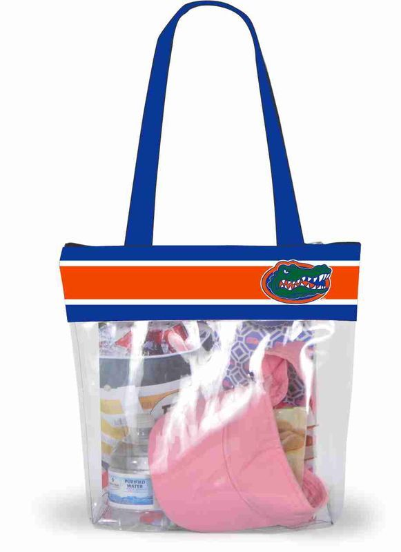 Our new Clear Gameday tote is stadium approved and perfectly sized for all of your game day must haves. The Clear stadium tote features a zipper closure, lengthy straps and full color ribbon detail with the Gators logo.