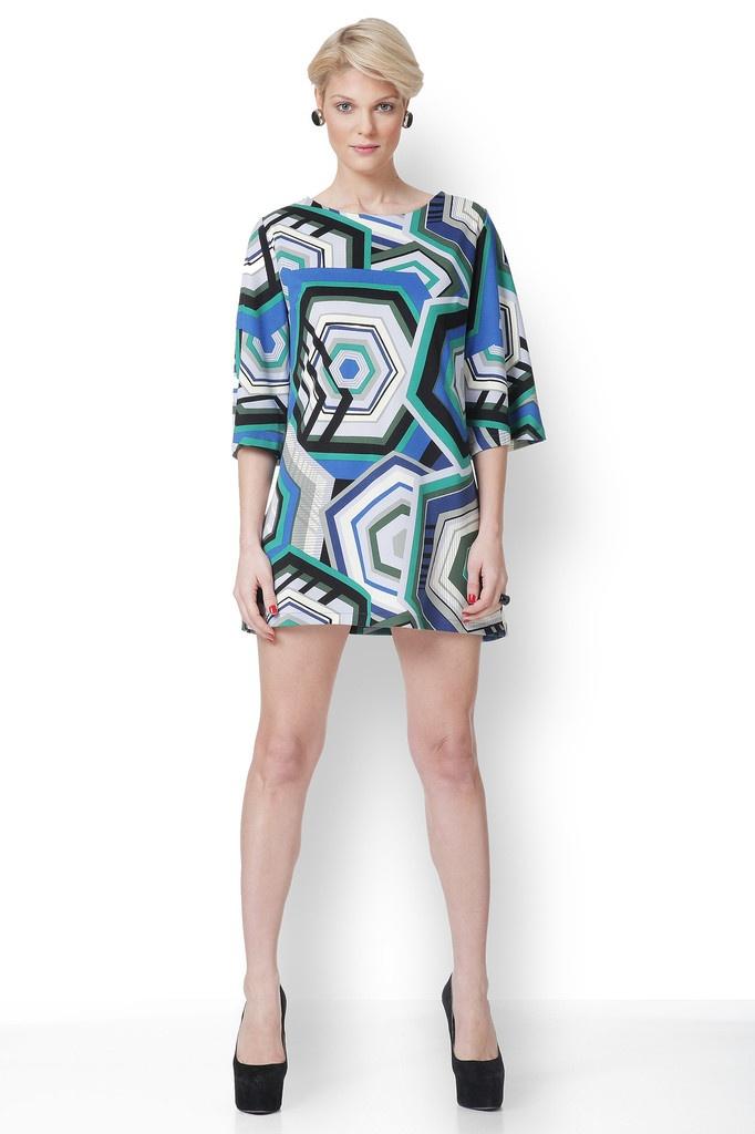 Φόρεμα με έντονα γεωμετρικά print με χαρούμενο φωτεινό πράσινο και μπλε!!