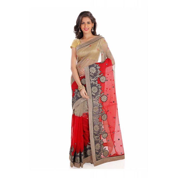 Attractive Fancy Pallu Saree in Red