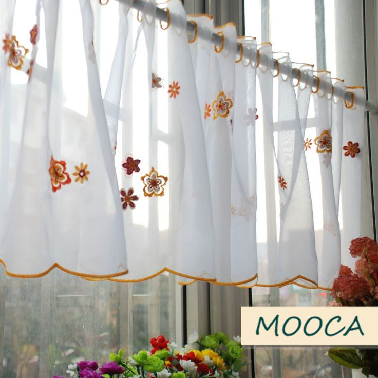 Orange Color Flower Embroidered Kitchen Curtain Finished Short Kitchen  Curtain White Cafe Curtain 40x180cm In