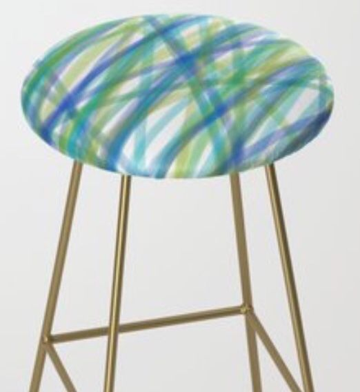 Surprising Colors Of The Ocean Patterned Bar Stool By Gail Sarasohn For Ibusinesslaw Wood Chair Design Ideas Ibusinesslaworg