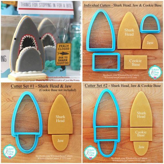 NEW -  3D Shark Cookie Cutters Designed by Montreal Confections - Sets &  Individuals ~ https://www.etsy.com/listing/188873457/new-3d-shark-cookie-cutters-designed-by?ref=sr_gallery_4&ga_search_query=shark+cookie+cutter&ga_order=most_relevant&ga_ship_to=US&ga_search_type=all&ga_view_type=gallery