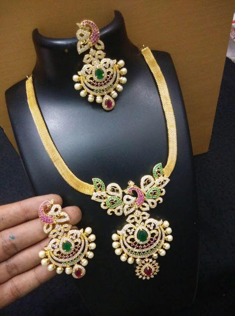 Multi Color Stone Necklace 3000 rupees - Jewellery Designs