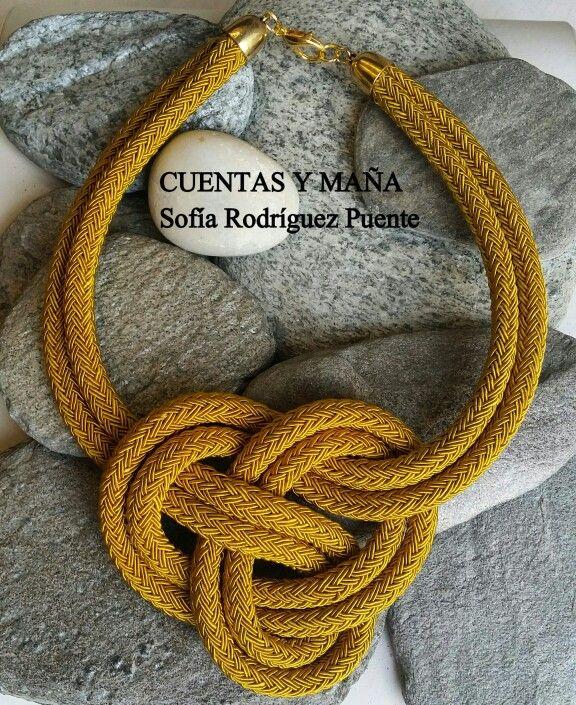 Gargantilla nudo de cordón #cuentasymaña #handmade #collares #madewithlove #nudo #knot #knotjewelry