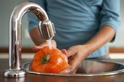 Wash vegetables and fruits with hydrogen peroxide to remove dirt and pesticides. Add 1/4 cup of H2O2 to a sink of cold water. After washing, rinse thoroughly with cool water. | http://www.onegoodthingbyjillee.com/2012/09/hydrogen-peroxide-magic.html