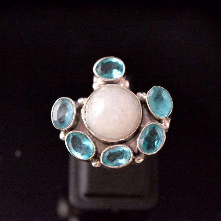 Pretty Rainbow Moonstone-Blue Quartz 925 Silver Plated Proposal Ring Size 8 E256 #valueforbucks #Cocktail