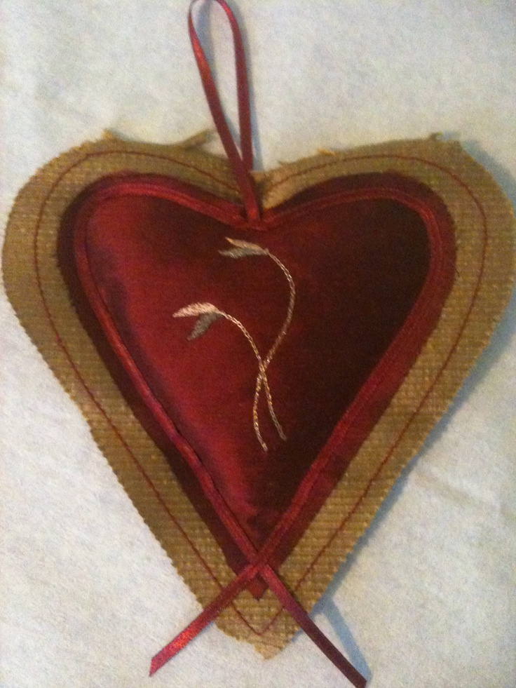 Red and Gold Lavender Heart